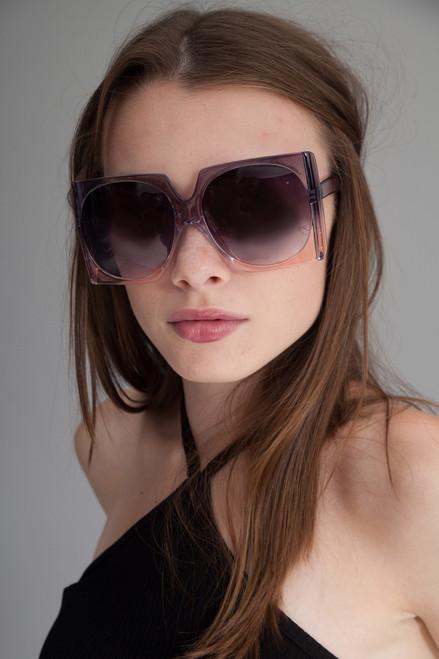 oversize square off ombre translucent frame sunglasses PURPLE