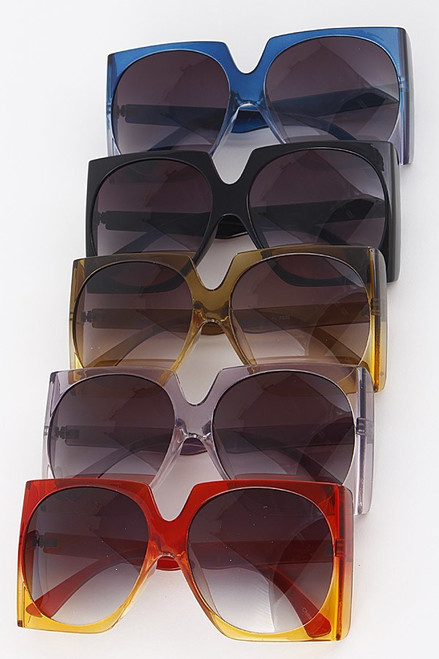 18f3b3d143c04 oversize square off ombre translucent frame sunglasses AMBER - The ...