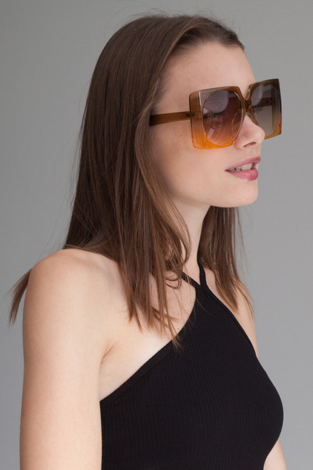 oversize square off ombre translucent frame sunglasses AMBER