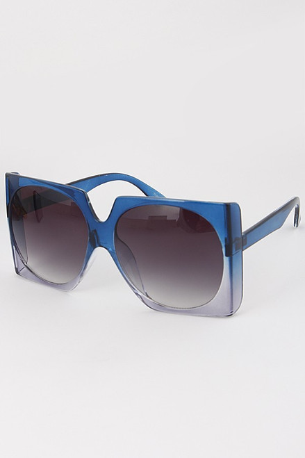 oversize square off ombre translucent frame sunglasses BLUE