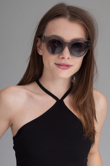 oversize translucent inset frame sunglasses CLEAR SMOKE
