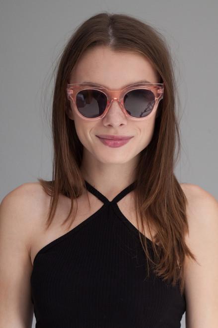 oversize translucent inset frame sunglasses CLEAR PINK