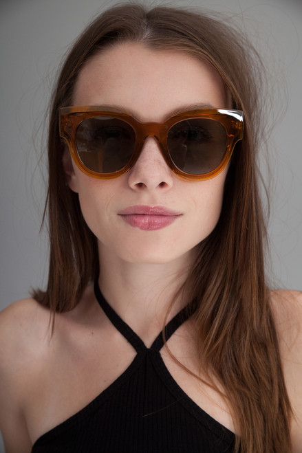 oversize translucent inset frame sunglasses CLEAR AMBER