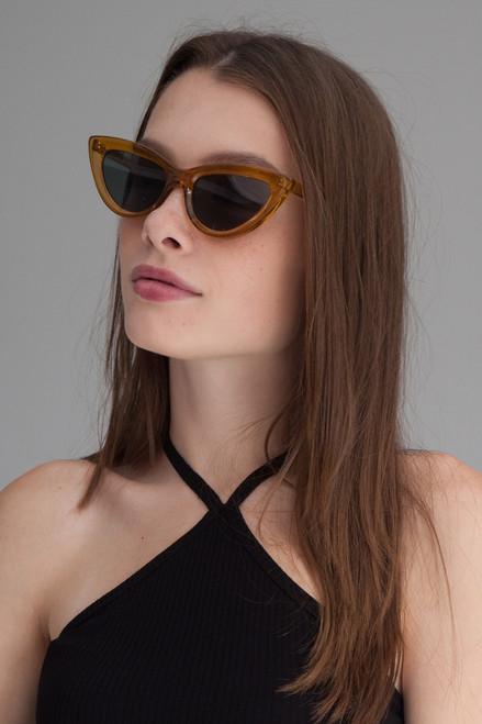Cat eye retro flat lens sunglasses AMBER