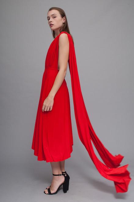 red convertible slinky knit dress midi waterfall hem (choose size)