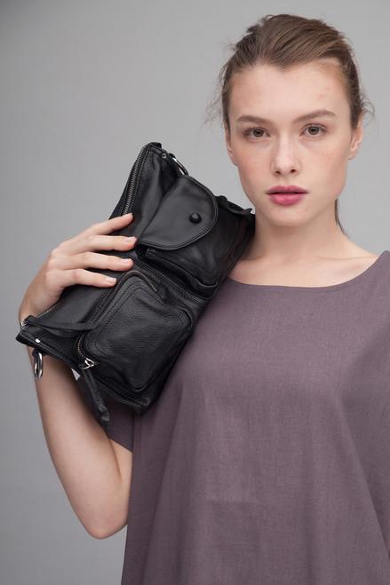 pebbled genuine leather ultra convertible purse BLACK crossbody bag / shoulder bag / handbag / belt bag / clutch