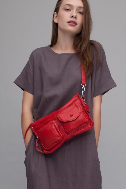 genuine pebbled leather ultra convertible purse RED crossbody bag / shoulder bag / handbag / belt bag / clutch