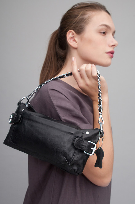 ultra convertible chain bag purse black genuine pebbled Italian leather crossbody bag / shoulder bag / handbag / belt bag / clutch