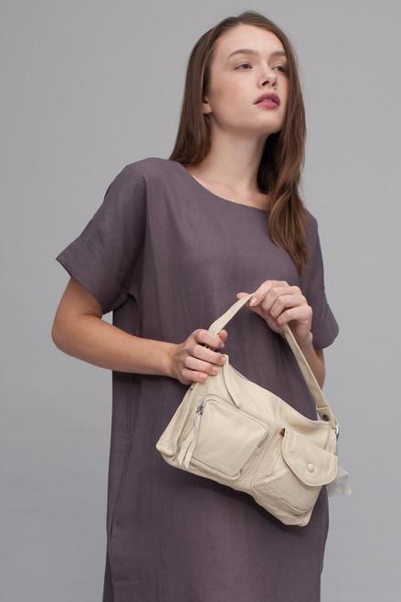 ultra convertible purse IVORY WHITE pebbled genuine leather crossbody bag / shoulder bag / handbag / belt bag / clutch