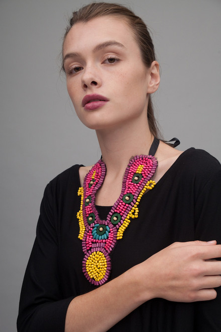 tribal necklace statement bib beaded collar medallion necklace