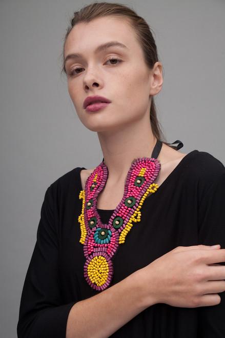tribal necklace statement bib beaded collar medallion necklace