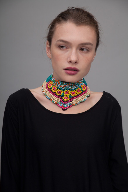 tribal necklace statement choker bib beaded collar
