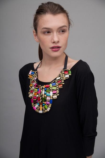 tribal breast plate necklace statement bib beaded collar