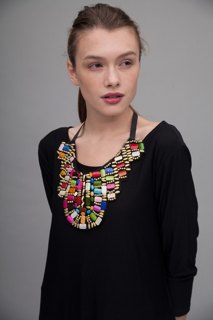 tribal breast plate necklace statement bib beaded collar