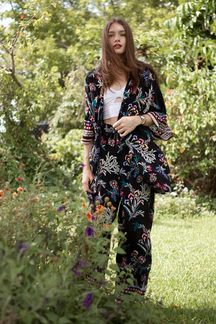 kimono top pants lounge set paisley print black 2-piece (choose size)