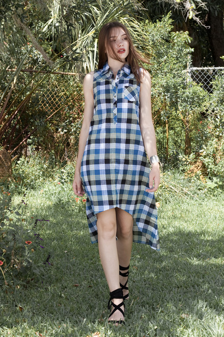 cotton hi-lo dress blue plaid sleeveless (choose size)