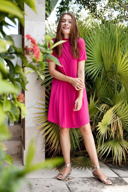 knit mini dress magenta mock turtle neck short sleeves (S-XL)