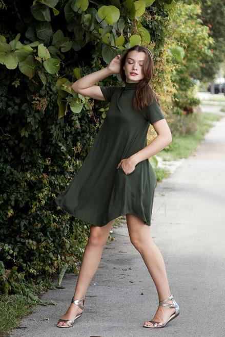 knit mini dress forest green mock turtle neck short sleeves (S-XL)