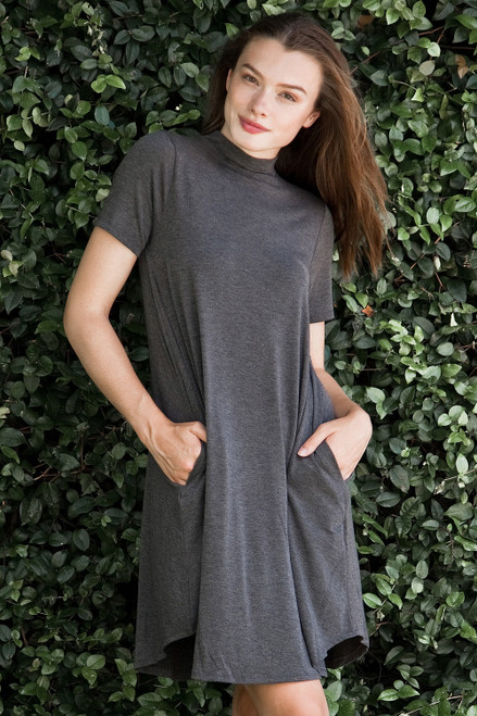 knit mini dress heather gray mock turtle neck short sleeves (S-XL)