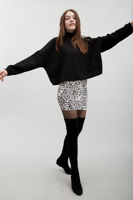 animal print mini skirt faux snake skin leather black and white (S M L)