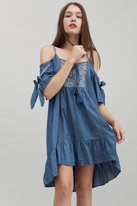 boho chambray cotton denim dress cold shoulder hi-lo ruffles (S M L)