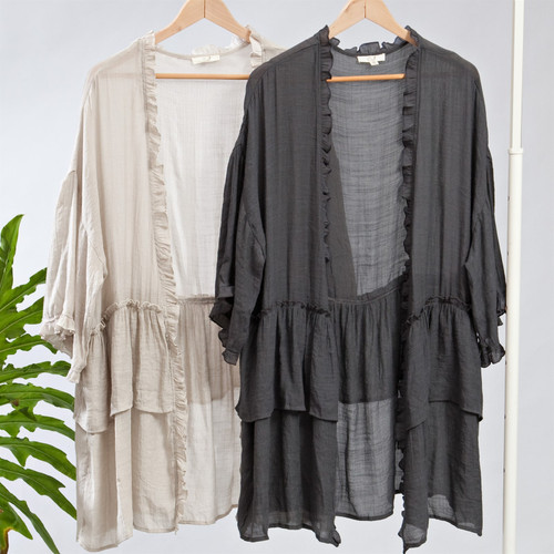 PREORDER - Mid to Late DECEMBER Arrival- Ruffled Kimono