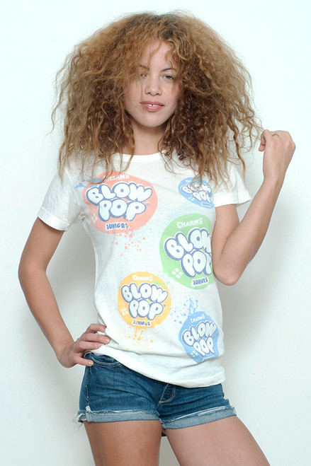 "Junk Food Vintage T-shirt 60/40 Charms BLOW POP Juniors Paint Splatter White L (18"" Width)"