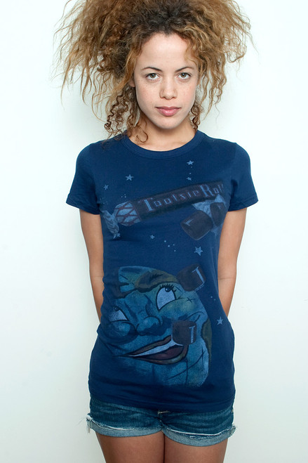 """Used Junk Food T shirt Tee 50/50 Tootsie Roll Making The World a Sweeter Place Dark Navy M (16"""" width)"""