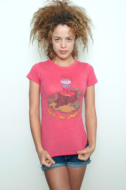 """Junk Food T shirt Tee 50/50 You Are The Smurfiest RED S (15"""" width)"""