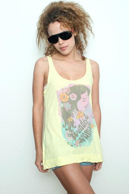 "Junk Food T shirt Tee Tank Top 100% Cotton Wonder Woman Hawaiian YELLOW L (16"" width)"