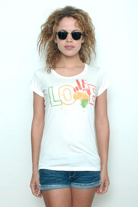 "Junk Food T shirt 50/50 Peace Love Paint Splatter on White XL (17"" width)"
