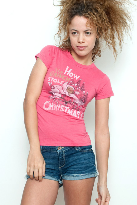 """Junk Food T Shirt Tee 50/50 How the Grinch Stole Christmas Red S (16"""" width)"""