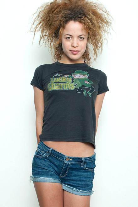 """Junk Food T Shirt Tee 50/50 Lucky Charm Leprechaun Black M (16"""" width)"""