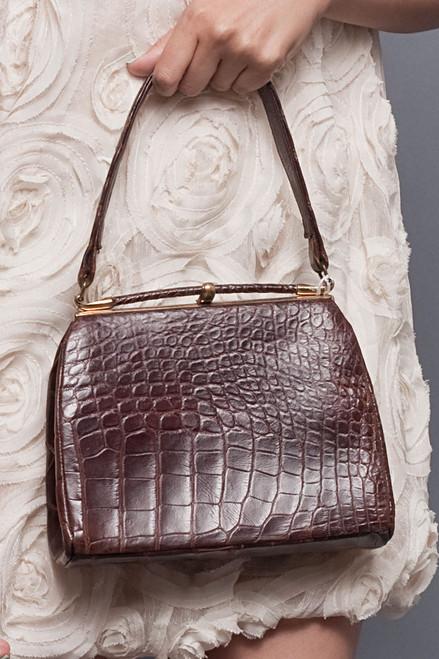 Vintage I. MAGNIN & CO. Genuine Alligator Belly Skin Frame Bag Kelly Purse Brown Gold Hardware