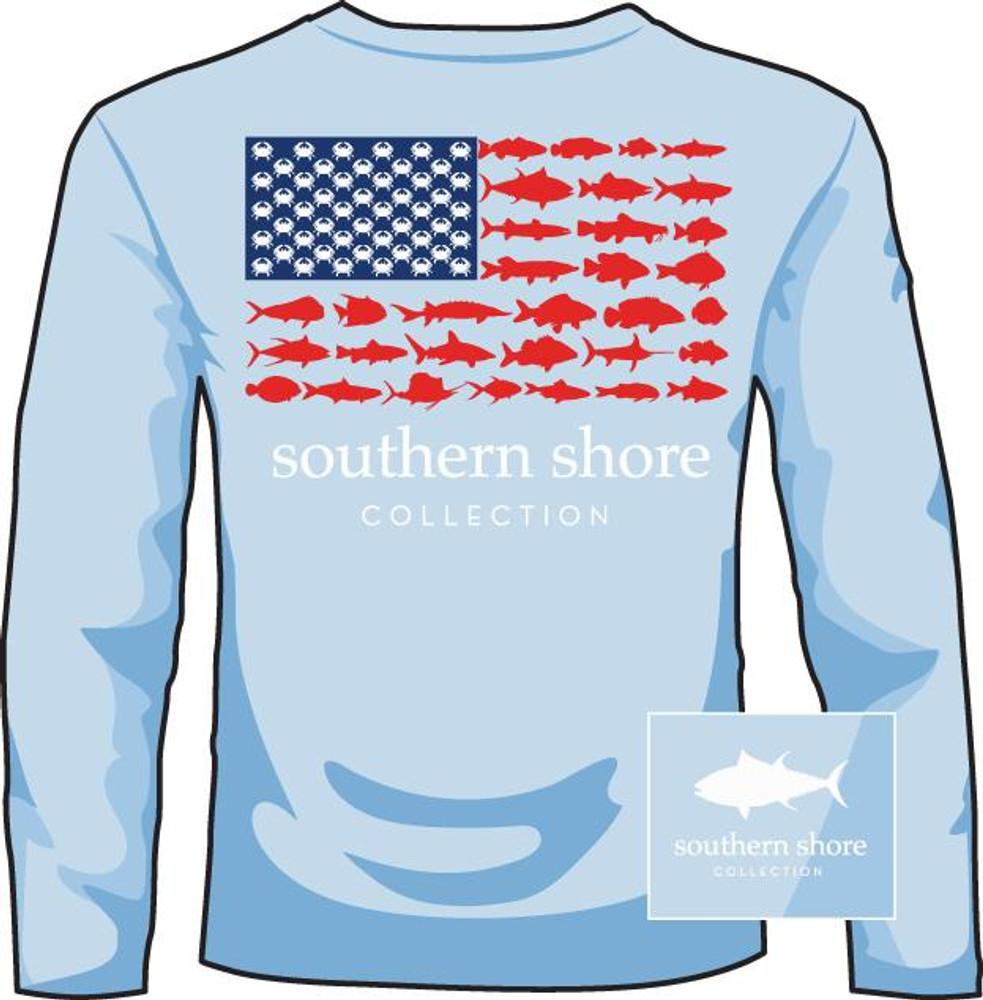 Southern Shore Fish Flag Light Blue LS