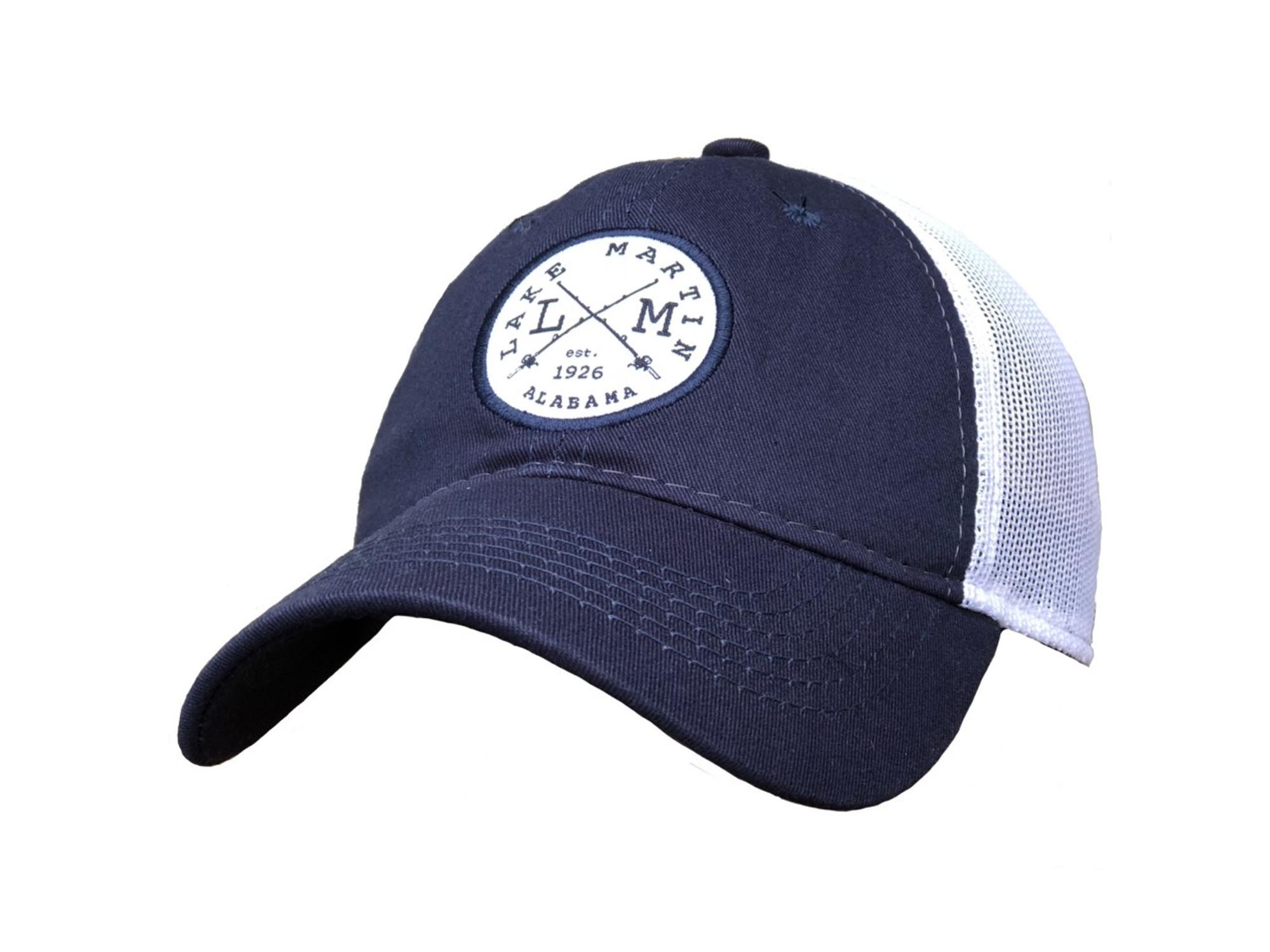 58a7a65f0 Lake Martin Navy Blue Mesh Trucker Hat