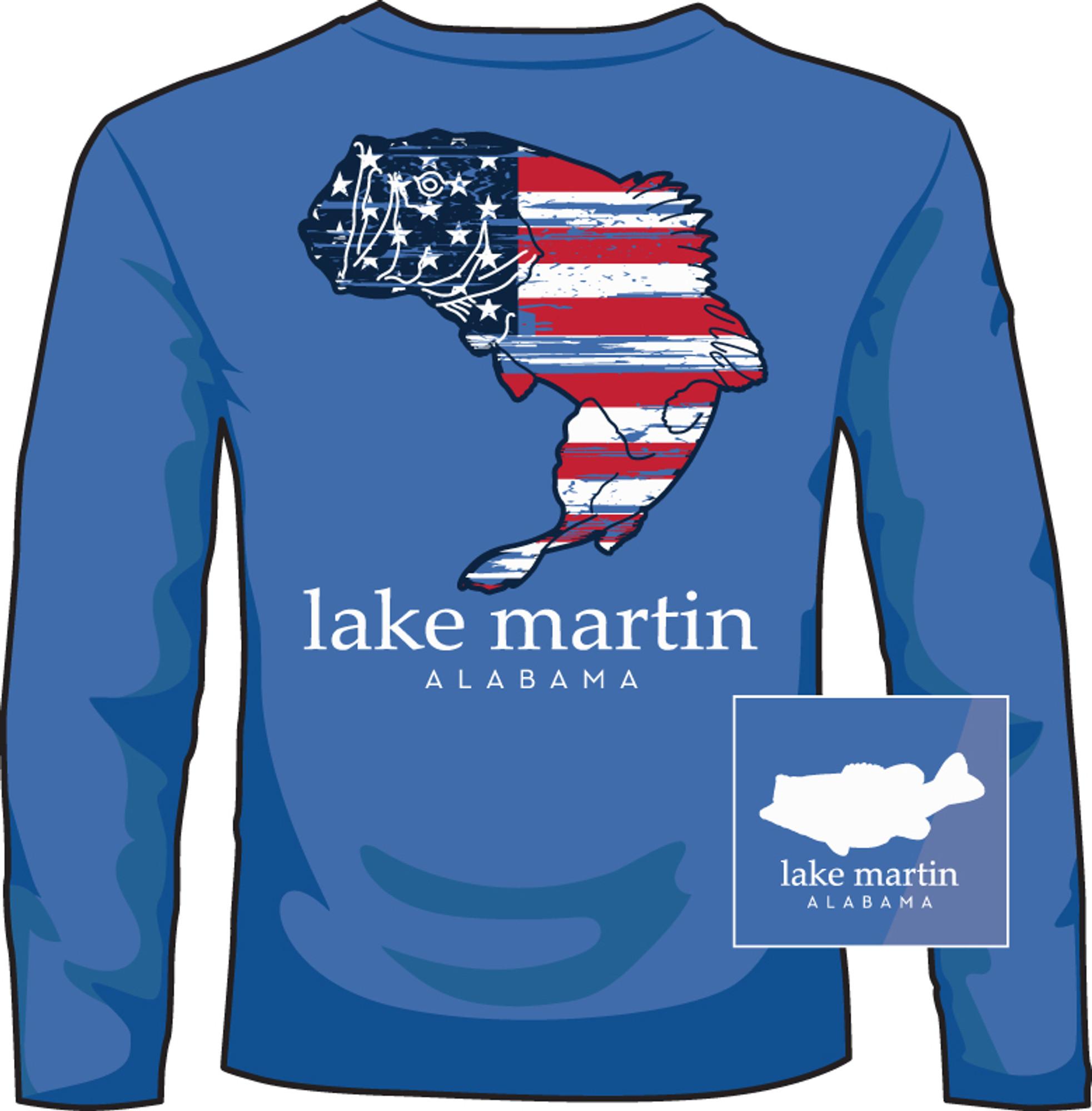 5939ff9b9 Lake Martin Patriotic Bass Mid Blue LS - Mikes Merchandise