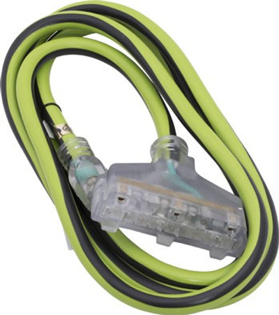 8 ft Lighted Triple Tap Extension Cord