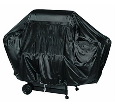 "68"" Heavy Duty Charbroil Vinyl Grill Cover  - Full-length luxury grill cover fits larger grills  - Vinyl construction protects your investment from snow, hail, rain, wind, pests, and    debris  - Drawstring closure at the base helps secure cover around your grill  - Easy to clean - just hose it down, or apply a vinyl cleaner for a glossier appearance  - Dimensions: 68"" x 21"" x 35"""