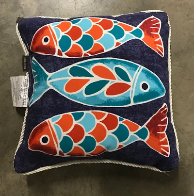 Allen + Roth Graphic Print Tide Classic Square Throw Pillow