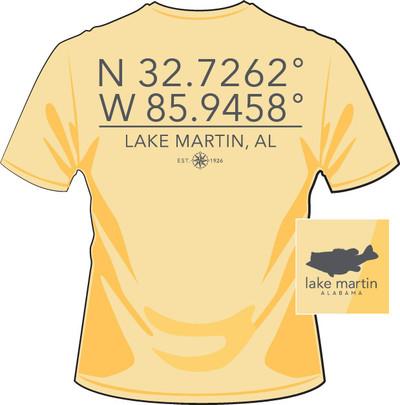 Lake Martin Longitude and Latitude Light Yellow
