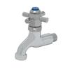 "T&S Brass B-0708 Sill Faucet Self-Closing 1/2"" NPT Male Inlet 4-Arm Plain"