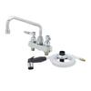 """T&S Brass B-1171 Workboard Faucet 4"""" Deck 8"""" Swing Nozzle Diverter Side Spray"""