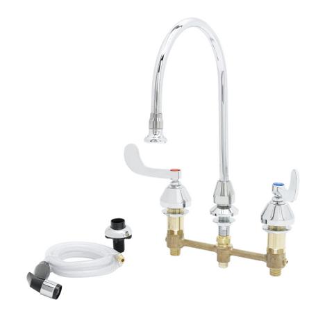 "T&S Brass B-2347 Medical Faucet W/Sidespray 8"" Center Gooseneck W/Rosespray"