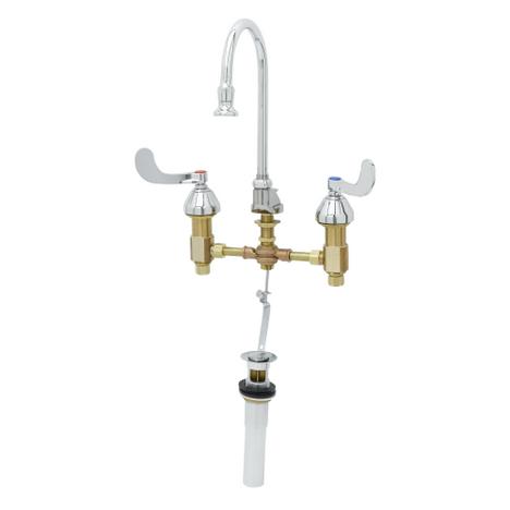 "T&S Brass B-0868-04 Medical Faucet Concealed 4"" Wrist Handles Rigid/Swivel Gooseneck Pop-Up"