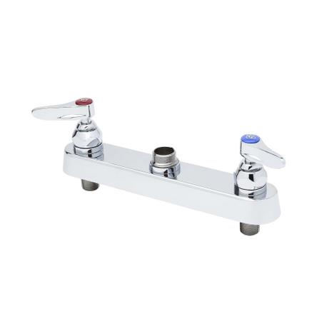 "T&S Brass B-1120-LN Workboard Faucet 8"" Deck Mount Lever Handles Less Nozzle"