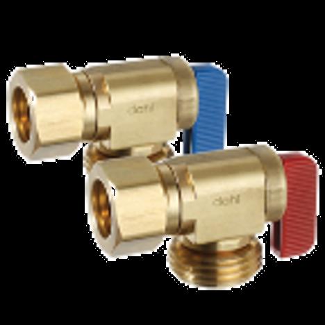 Dahl 621-33-04PK2, 5/8 OD Comp X Male Hose Pkg of 2 w/red & blue handles. Lead free.