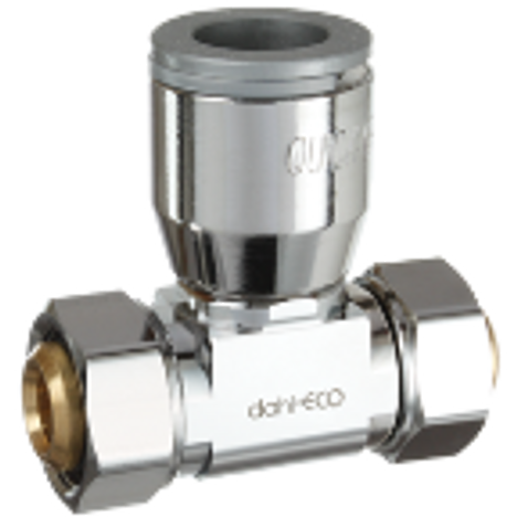 Dahl E43-43-QG3-PL, 5/8 OD Fem. Comp X 5/8 OD Fem. Comp X 1/2 QUICK-GRIP™. Lead free.