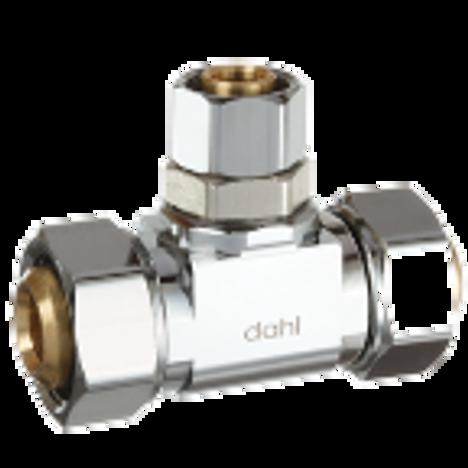 Dahl E43-43-41-PL, 5/8 OD Fem. Comp X 5/8 OD Fem. Comp X 3/8 OD Fem. Comp. Lead free.
