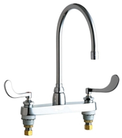 """Chicago Faucets 1100-GN8AE35-317AB Deck-Mounted Manual Sink Faucet 8"""" Center"""